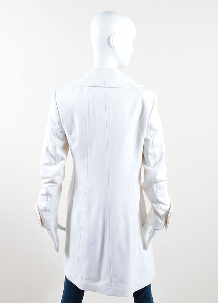 Versace Collection Cream Wool Shawl Collar Pea Coat Backview