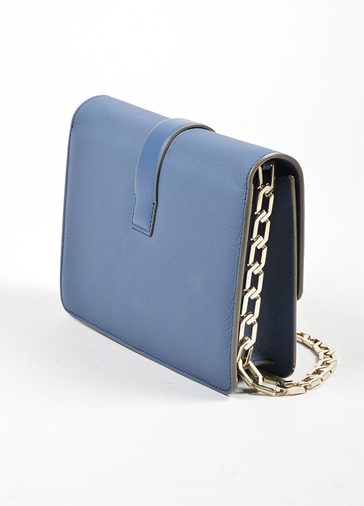 Victoria Beckham Blue and Grey Leather Mini Chain Satchel Bag Sideview