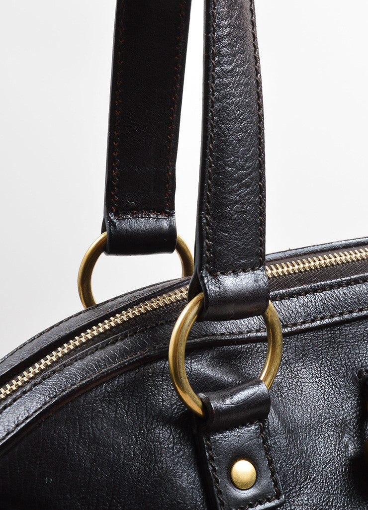 "Yves Saint Laurent Dark Brown Leather ""Muse"" Tote Bag Detail 2"