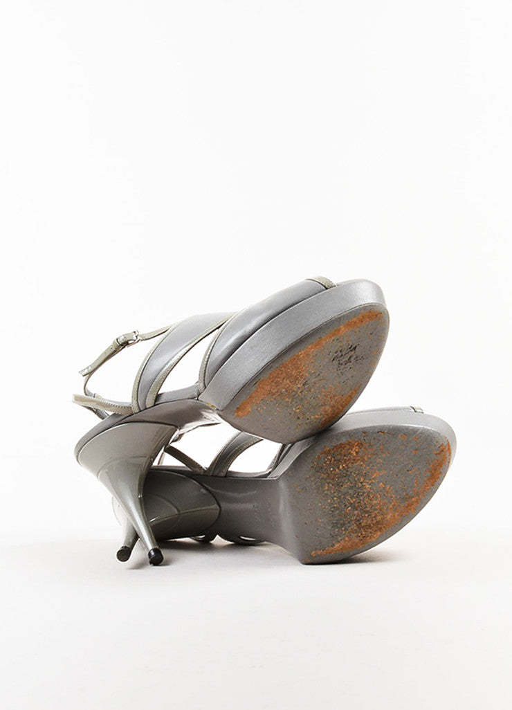 Yves Saint Laurent Grey Leather Platform Peep Toe Sandal Heels Outsoles