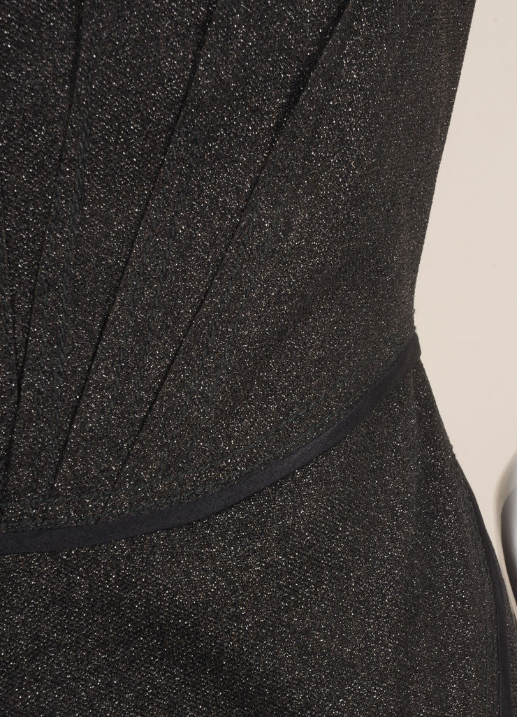 Zac Posen Black Metallic Sparkle Sleeveless Dress Detail