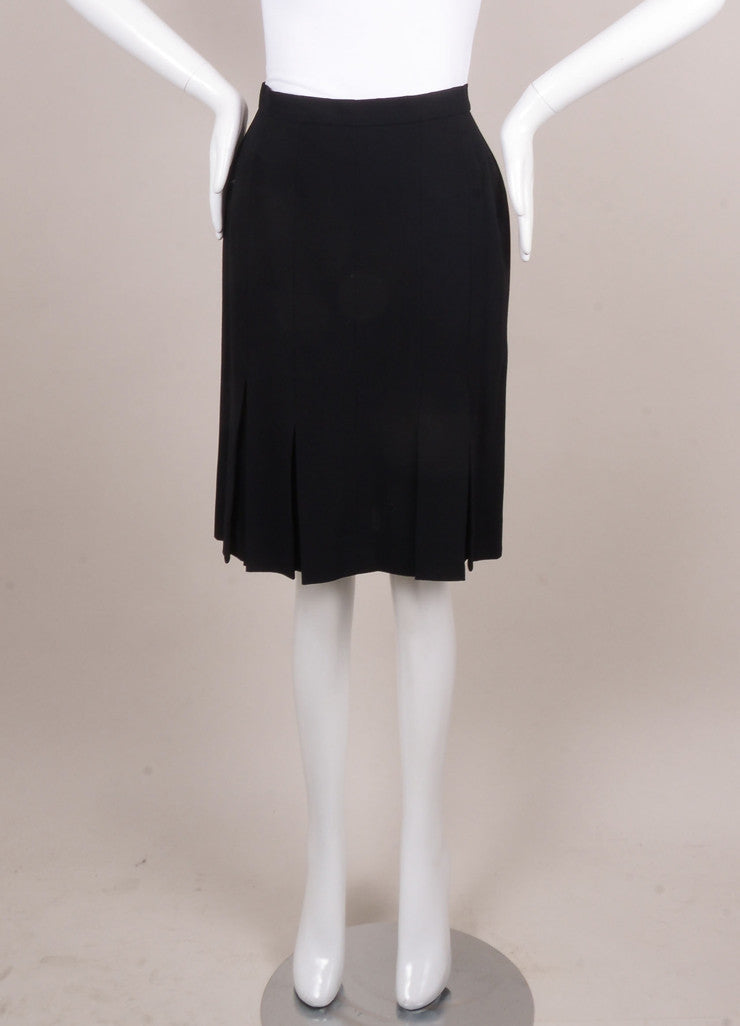 Black Pleated Slit Wool Skirt