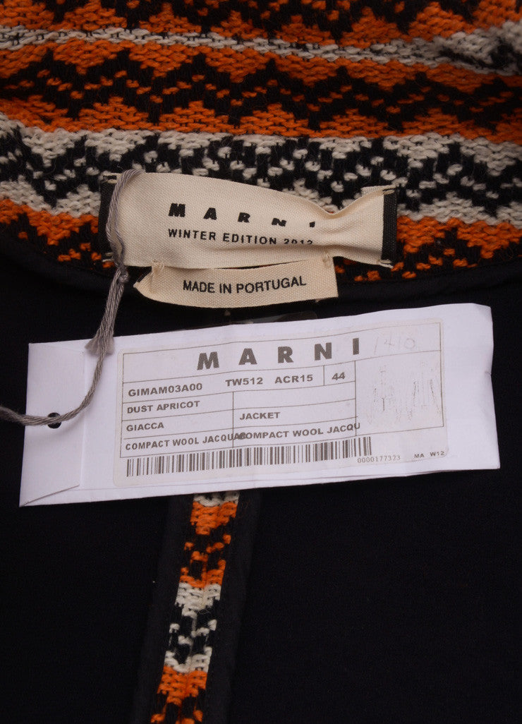 New With Tags Orange, White, and Navy Stripe Wool Knit Jacket