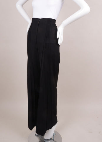 Black Catherine Malandrino Stretch Wool Pintuck HIgh Waist Trousers