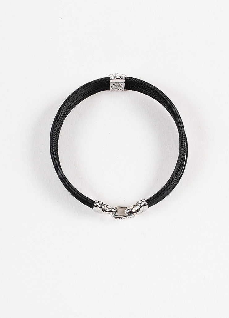 Alor Black Stainless Steel 18K White Gold Diamond Cable Bracelet Topview