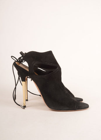 Aquazzura Black and Gold Toned Suede Cut Out Open Toe Stiletto Booties Sideview