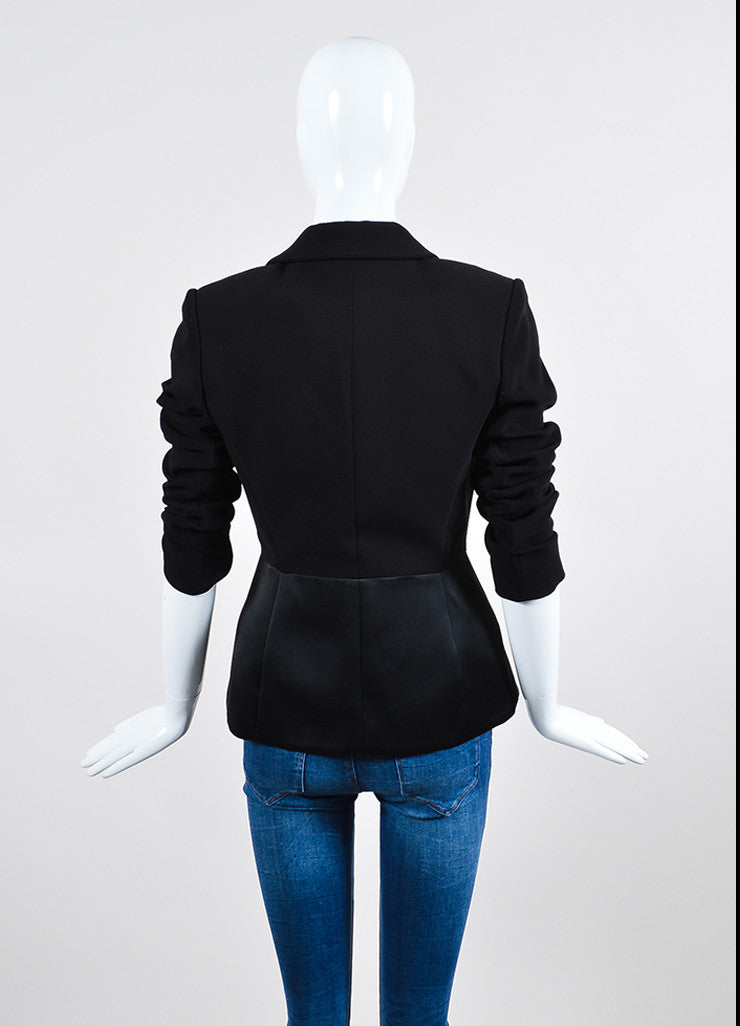 Black Balenciaga Satin and Wool Double Breasted Peplum Jacket Backview
