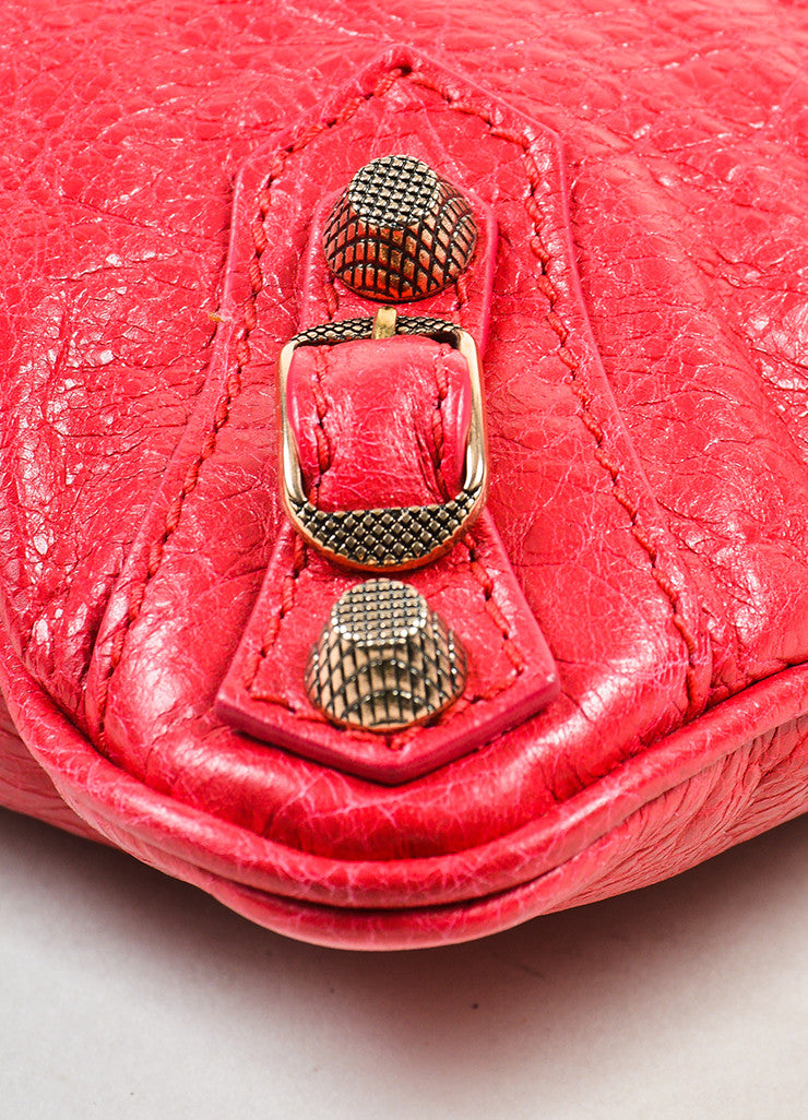 "Red Leather Rose Gold Toned Studded Balenciaga ""Giant 12 Wristlet Clutch"" Bag Detail"
