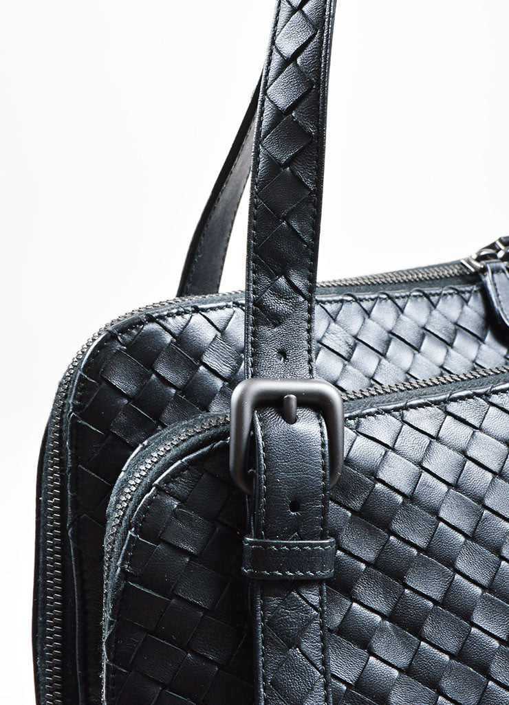 Navy Bottega Veneta Intrecciato Leather Double Compartment Shoulder Bag Detail 2