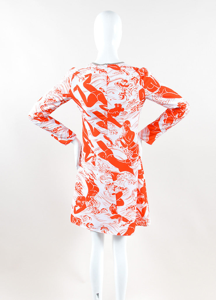 Carven White and Orange Lace Insert Graphic Print Long Sleeve Dress Backview