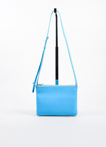 "Turquoise Celine Lambskin Leather ""Trio"" Crossbody Bag Frontview"