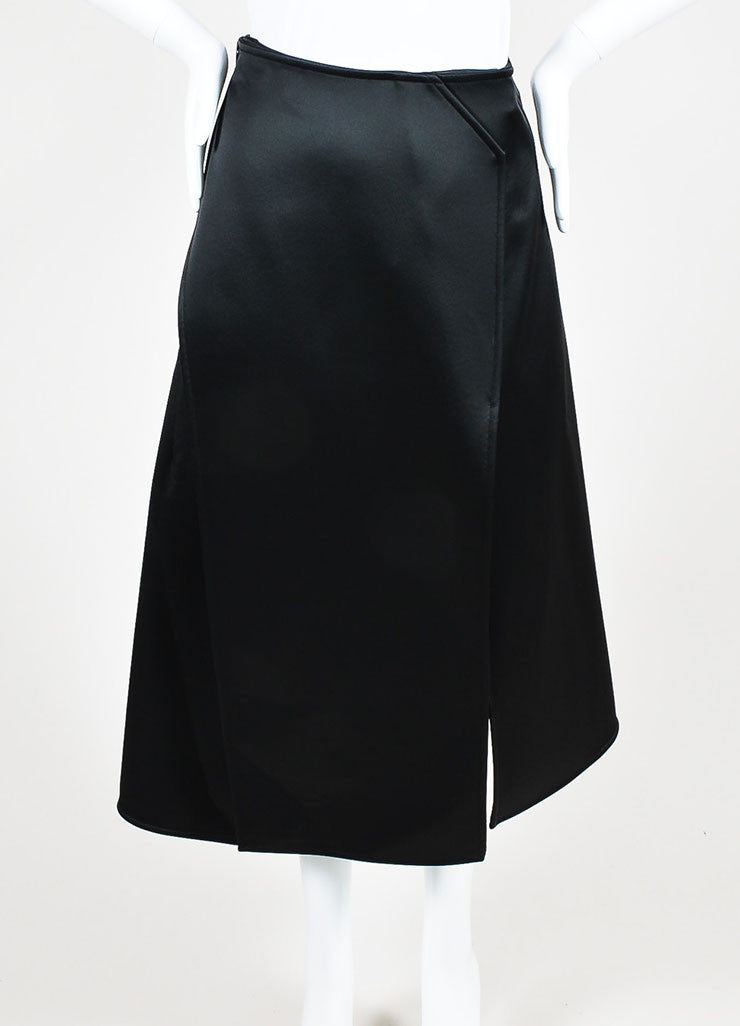 Celine Black Satin Wrap Tuxedo Skirt Frontview