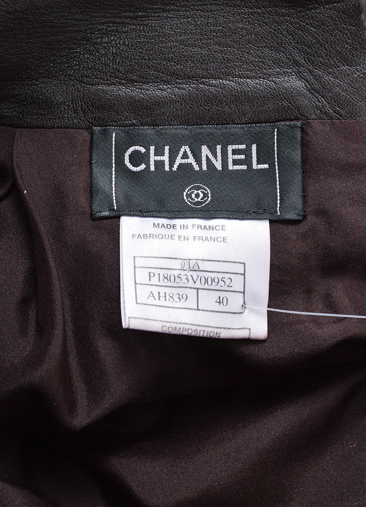 Burgundy Brown Chanel Leather Pleated A-Line Skirt Brand