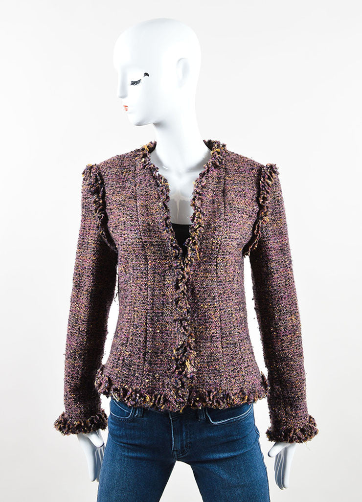 Chanel Dark Purple Wool and Mohair Tweed Ruffle Trim Jacket Frontview