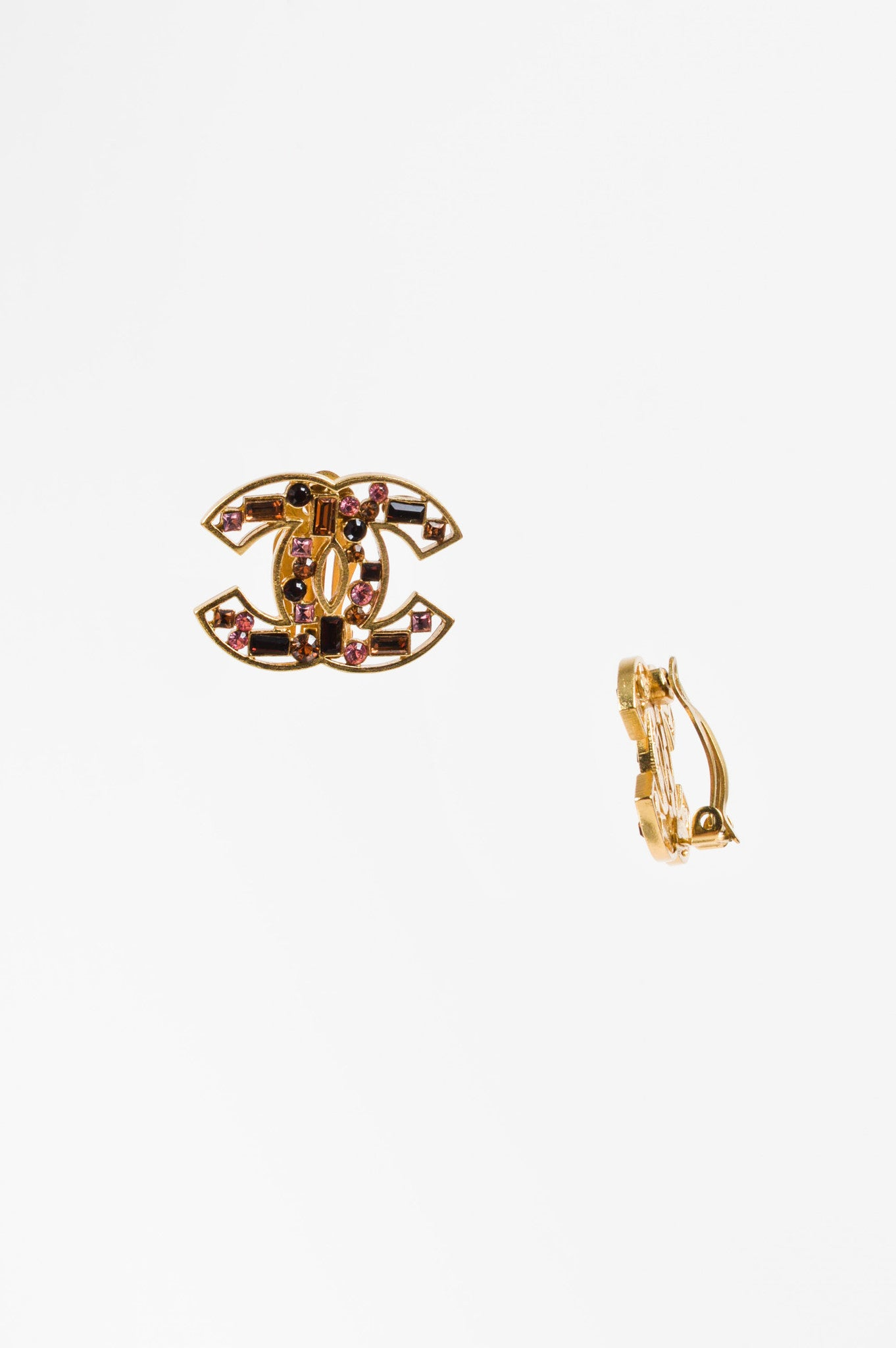 Chanel Gold Toned, Brown, and Pink Crystal Embellished 'CC' Clip On Earrings Sideview