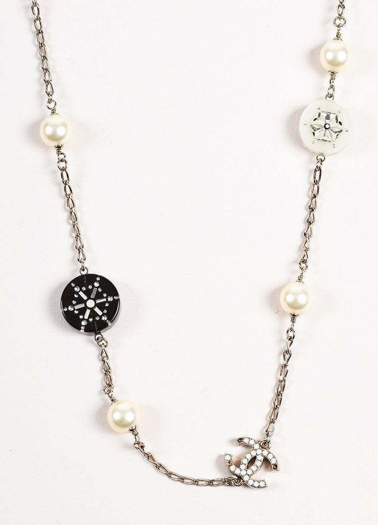 Chanel Silver Toned White Black Faux Pearl Crystal Station Strand Necklace Detail