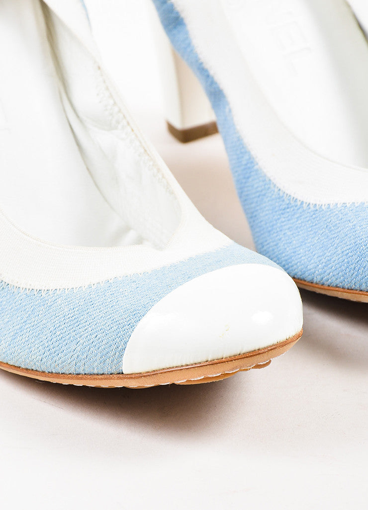 Chanel Light Blue and White Denim Patent Leather Cap Toe Block Heel Pumps Detail