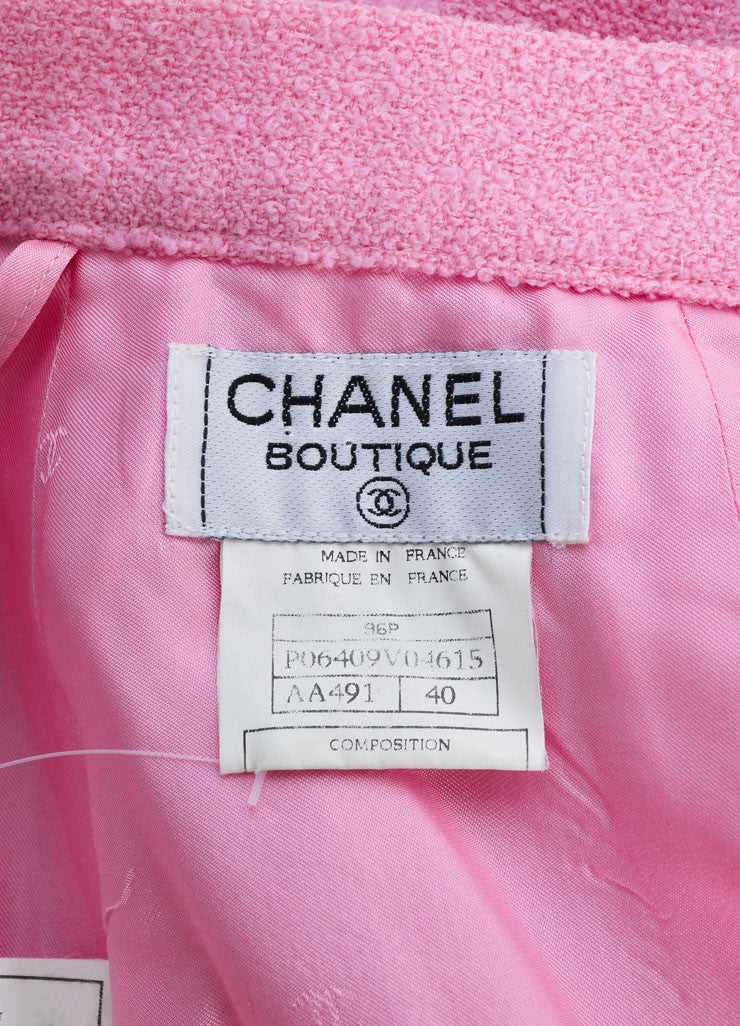 "Chanel Pink Wool Knit ""CC"" Button Pencil Skirt Brand"