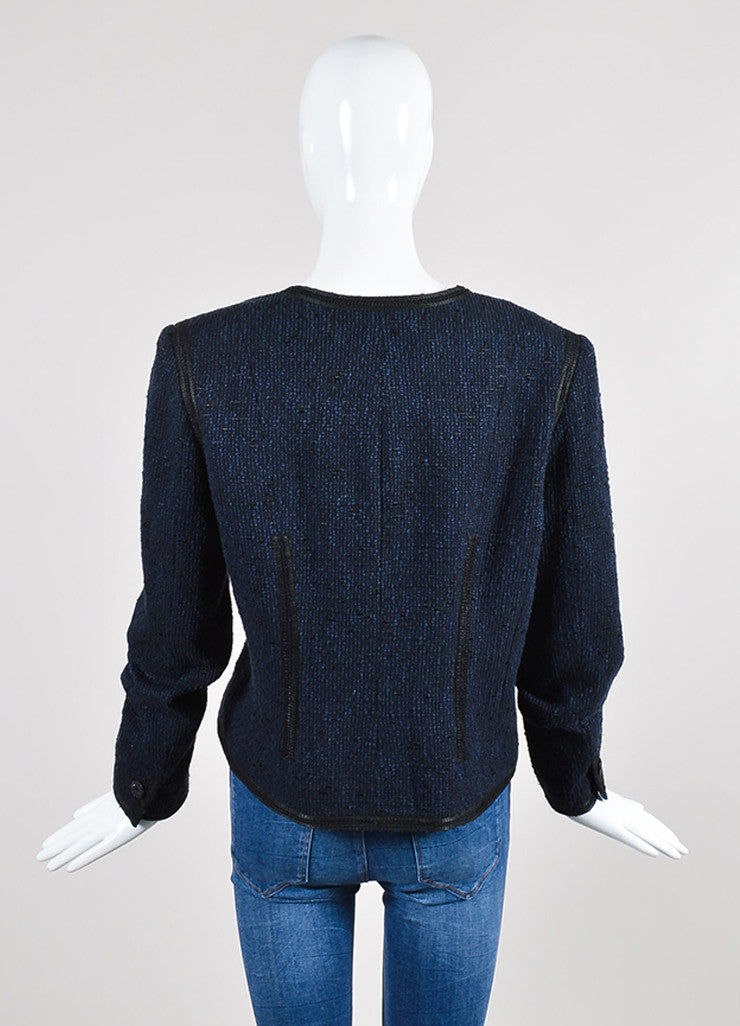 Navy Blue and Black Chanel Woven Knit Asymmetrical Lapel Jacket Backview