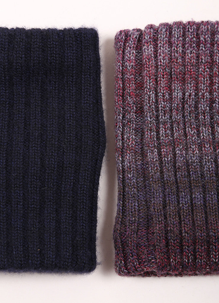 Chanel Purple and Navy Blue Ribbed Knit Cuffs Detail