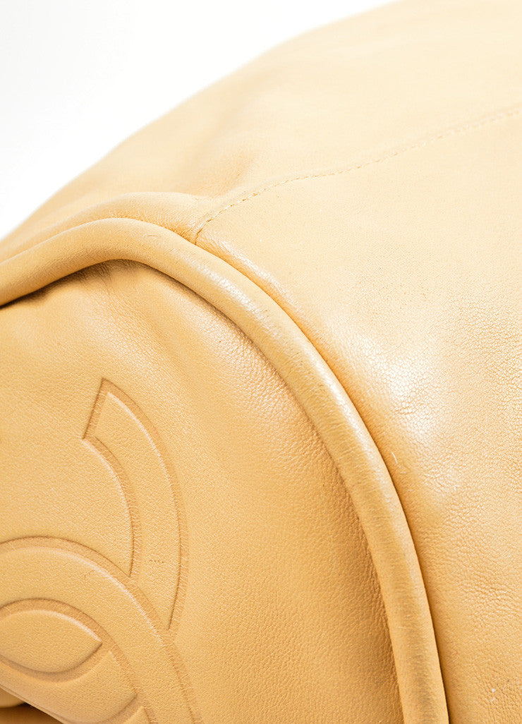 "Tan Leather Chanel 'CC' Logo Chain Strap ""Ultimate Soft"" Hobo Bag Detail"