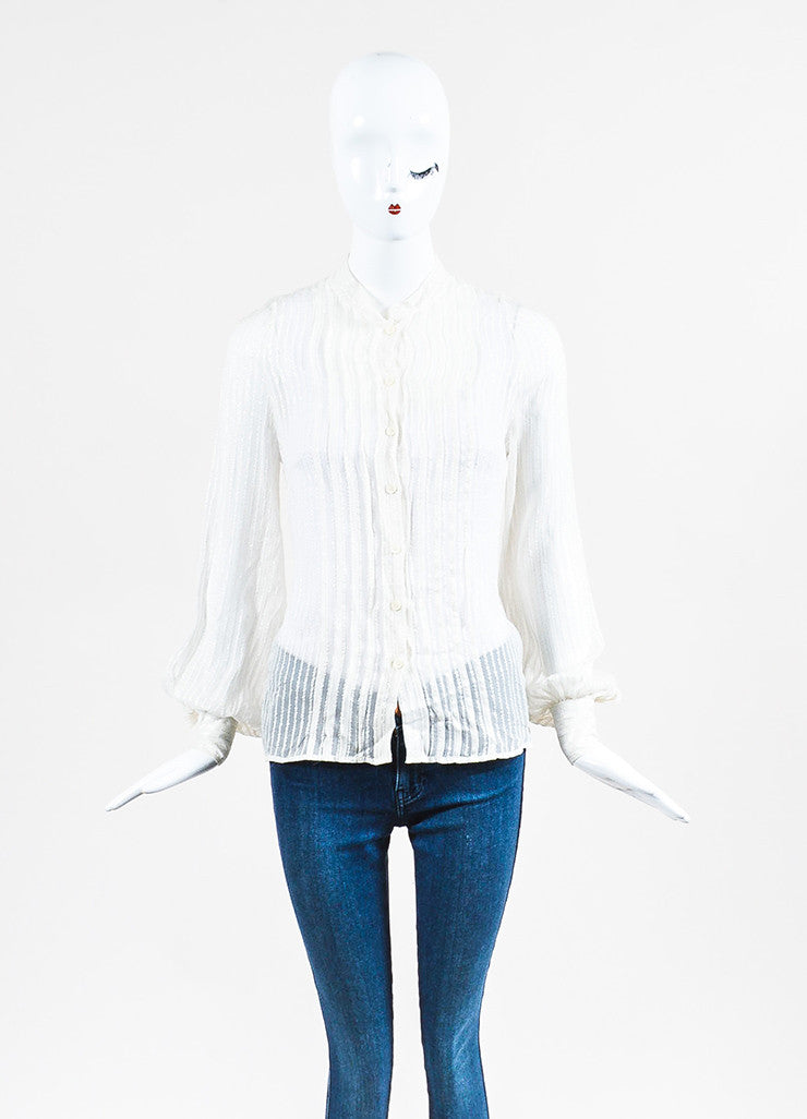 Chloe Cream and Silver Silk Striped Sheer Long Sleeve Button Up Blouse Frontview