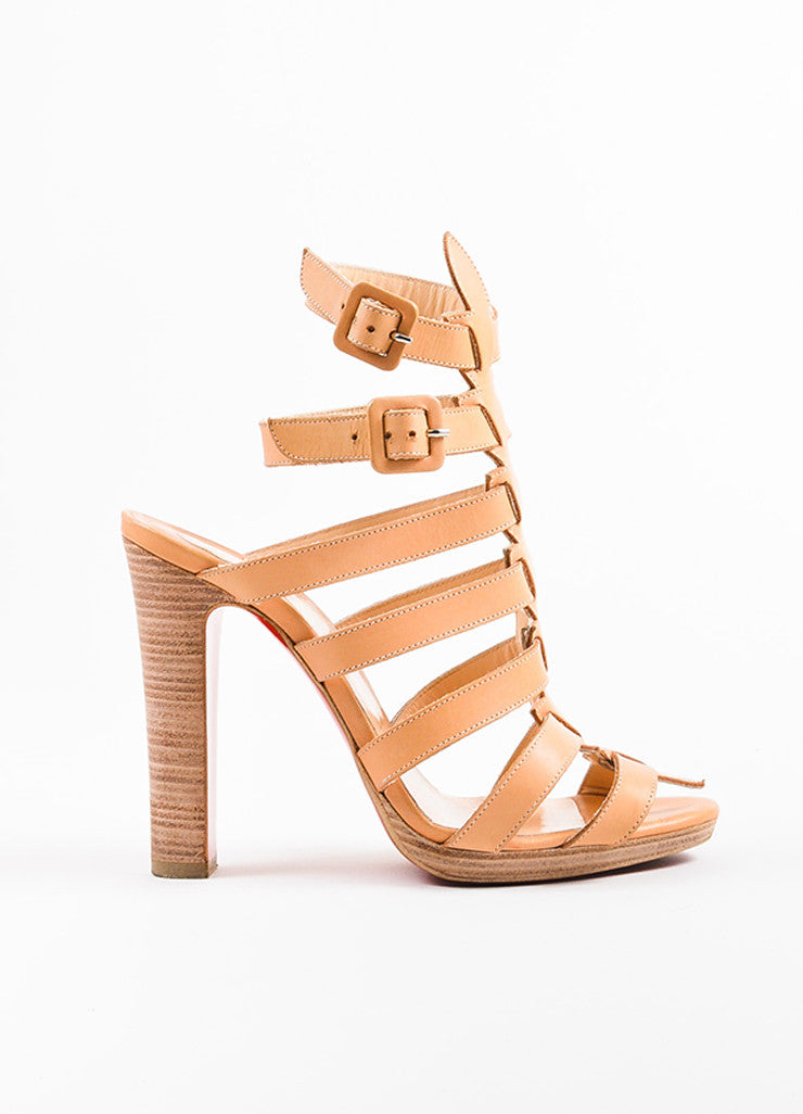 Christian Louboutin Beige Leather Platform Neronna Gladiator Sandals Sideview