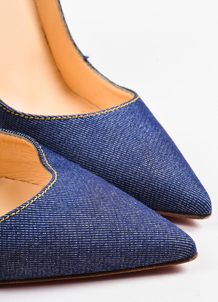 "Christian Louboutin Blue Denim ""So Kate 120"" Pointed Toe Pumps Detail"