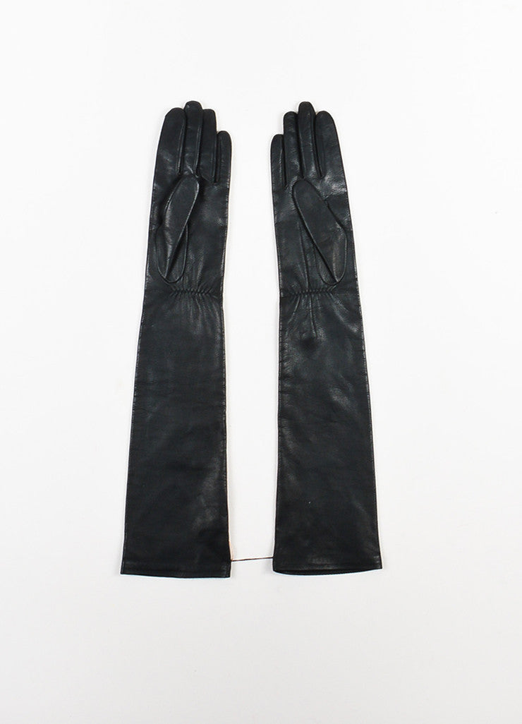 Christopher Kane Black Leather and Silk Long Heart Applique Gloves Backview