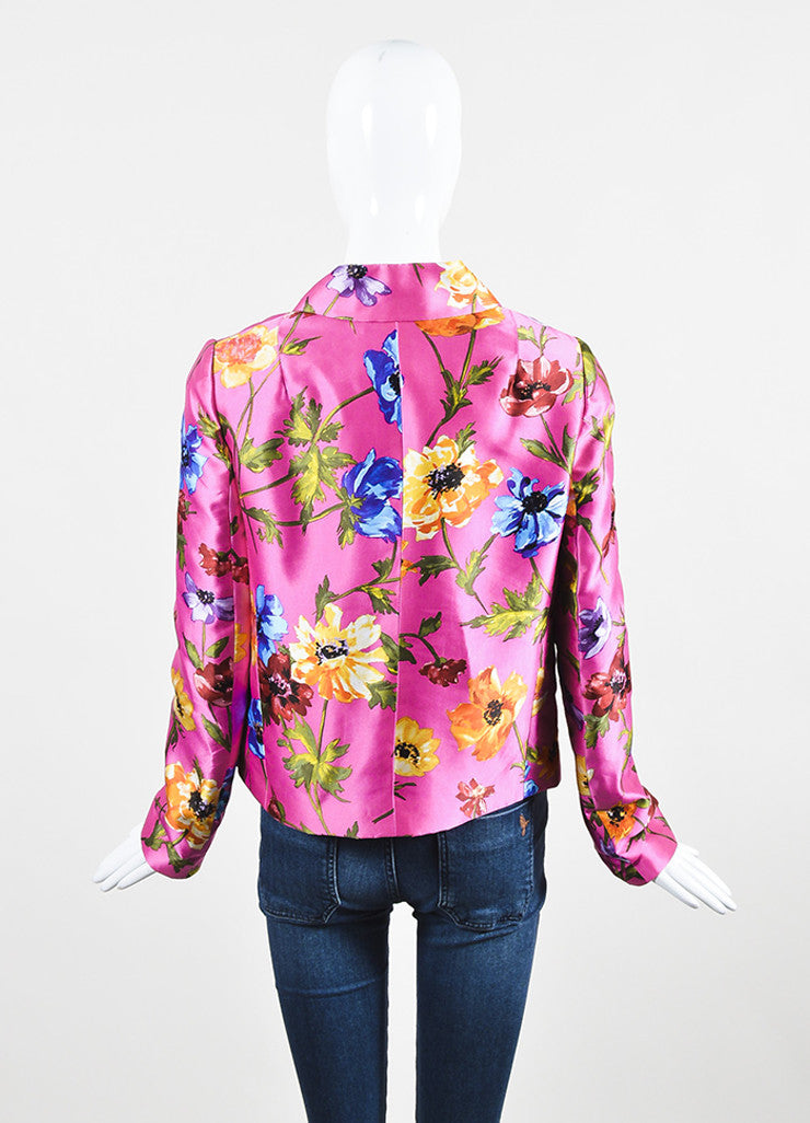 Dolce & Gabbana Pink Multicolor Silk Floral Print Long Sleeve Blazer Backview