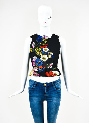 Erdem Black and Multicolor Embroidered Floral Frankie Peplum Top Frontview
