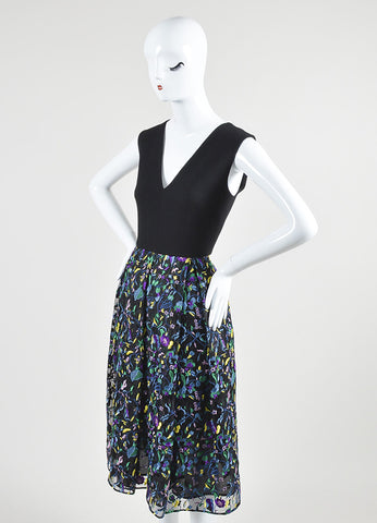 "Black and Multicolor Erdem Wool and Silk Floral Embroidered ""Loren"" Dress Sideview"