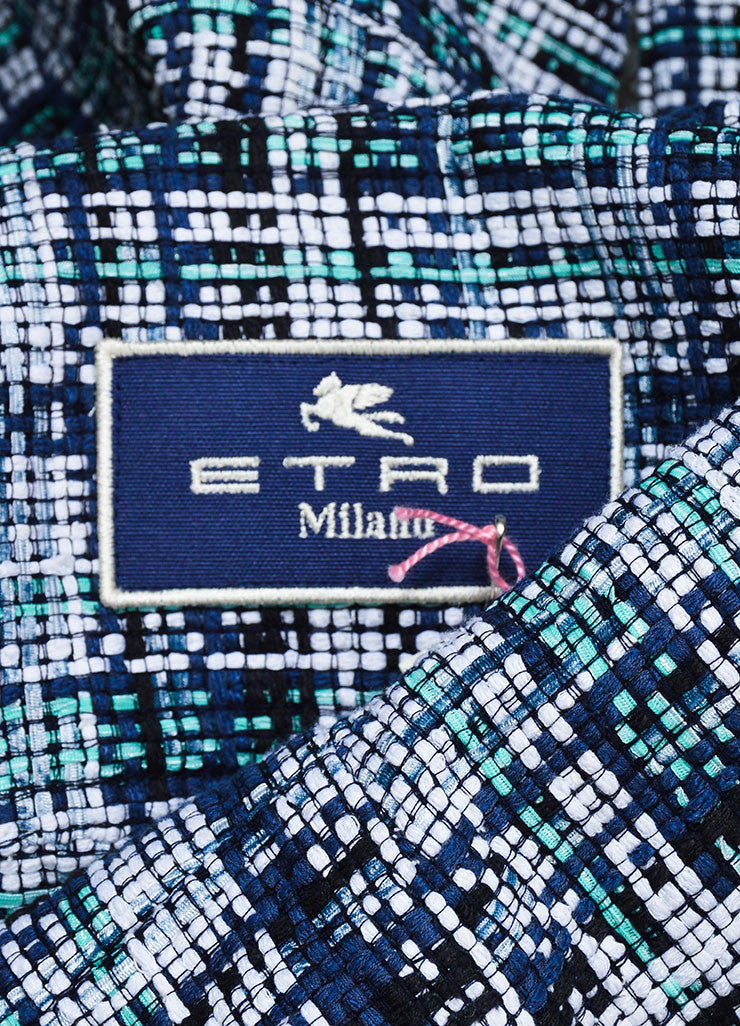 White, Blue and Green Etro Silk Knit Plaid Tweed Jacket Brand