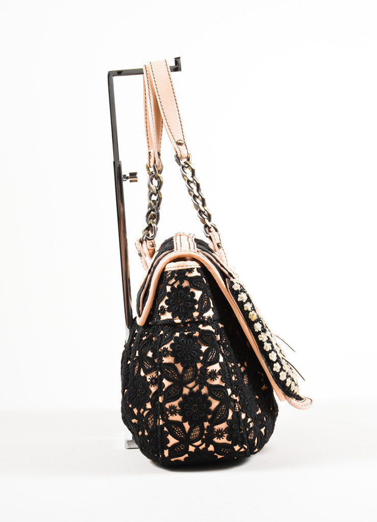 "Fendi Pale Pink and Black Leather Lace Floral Detail Chain Strap ""B."" Bag Sideview"