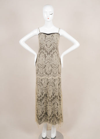 Giorgio Armani Cream and Black Spaghetti Strap Floral Lace Gown Frontview