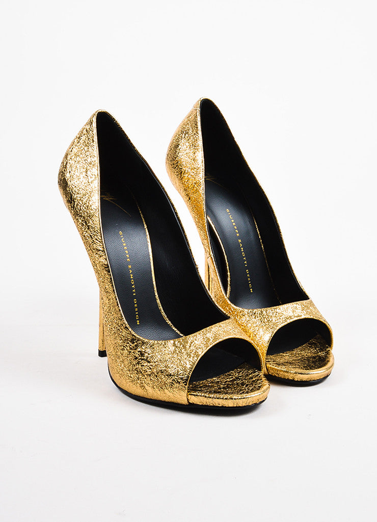 Giuseppe Zanotti Gold Metallic Textured Leather Peep Toe High Heels Front