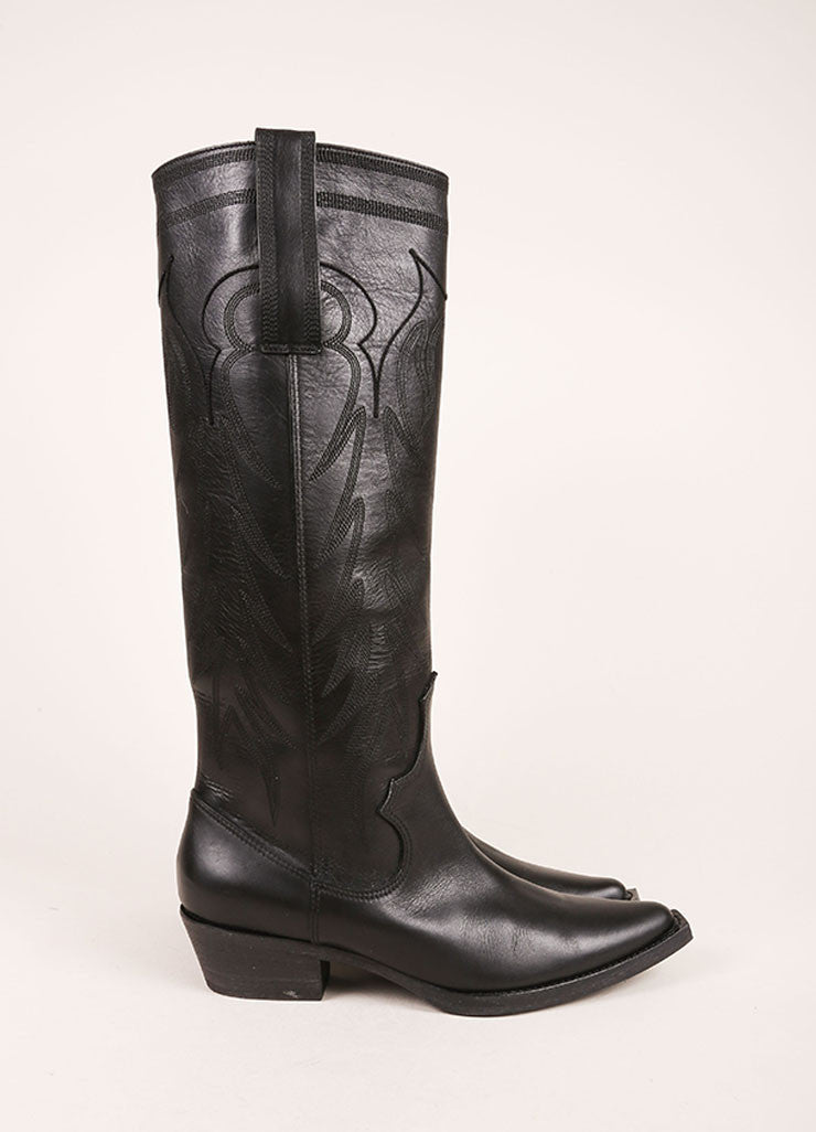 Givenchy Black Leather Knee High Cowboy Boots Sideview