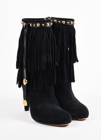 "Gucci Black and Gold Toned Suede Fringe Studded ""Devendra"" Ankle Boots frontview"