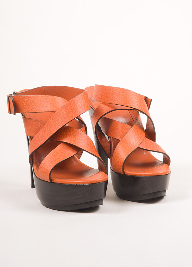 Gucci New Orange Leather Wood Platform Strappy Sandals Frontview