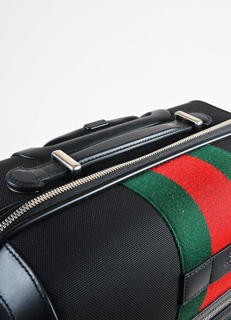 "Gucci Black Stripe Fabric 4 Wheel ""Techno"" Carry On Luggage Suitcase Detail 4"
