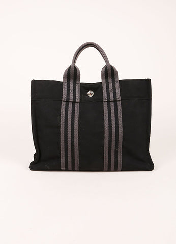 Hermes Black and Grey Canvas Striped Tote Bag Frontview