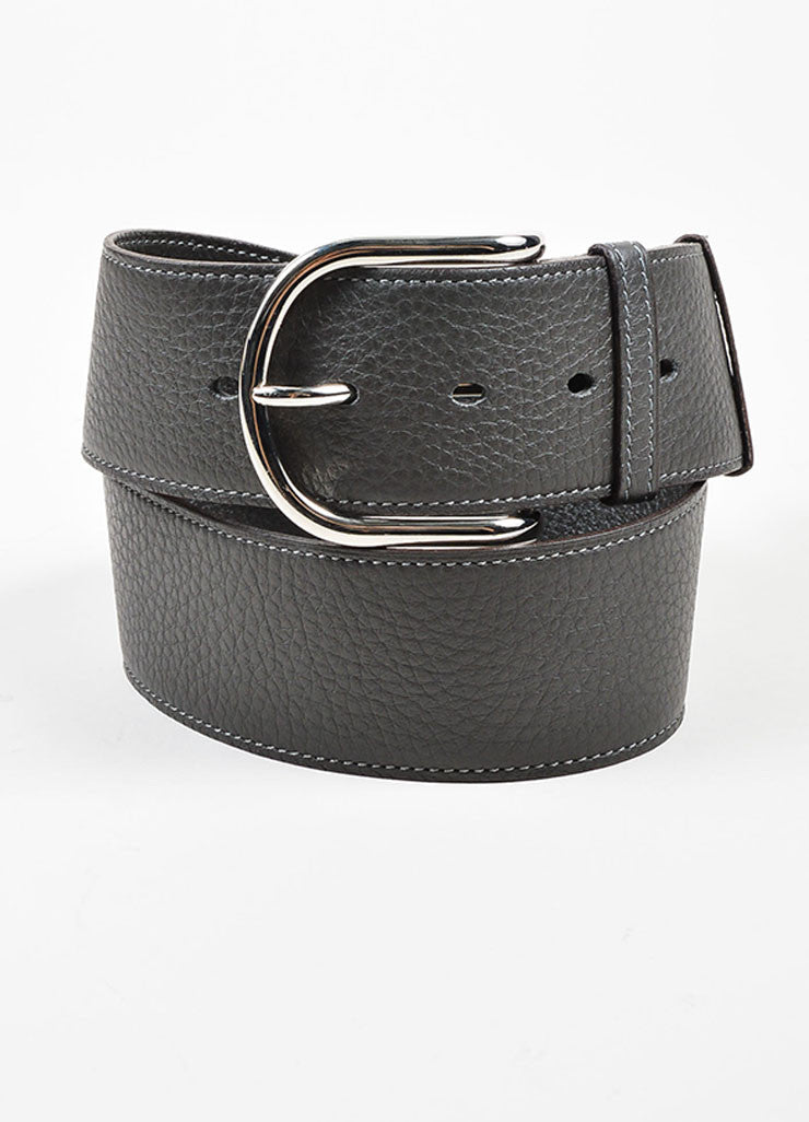 Charcoal Grey and Silver Toned Hermes Pebble Leather Belt  Frontview