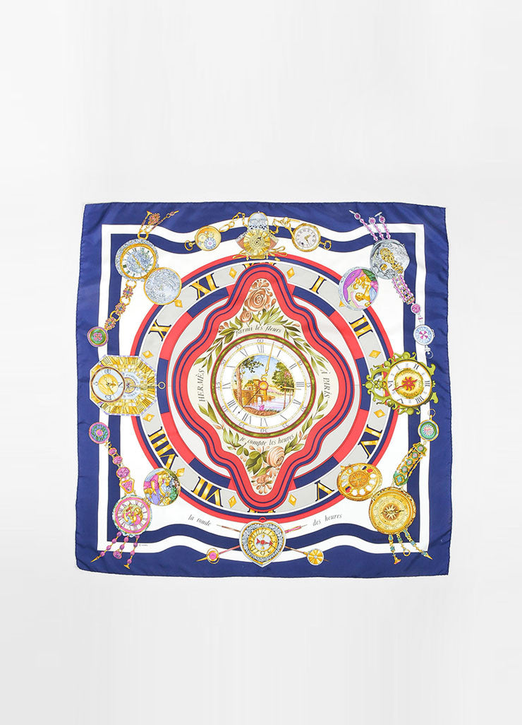"Cream, Red, and Navy Blue Silk Hermes ""La Ronde des Heures"" 90cm Square Scarf Frontview 2"