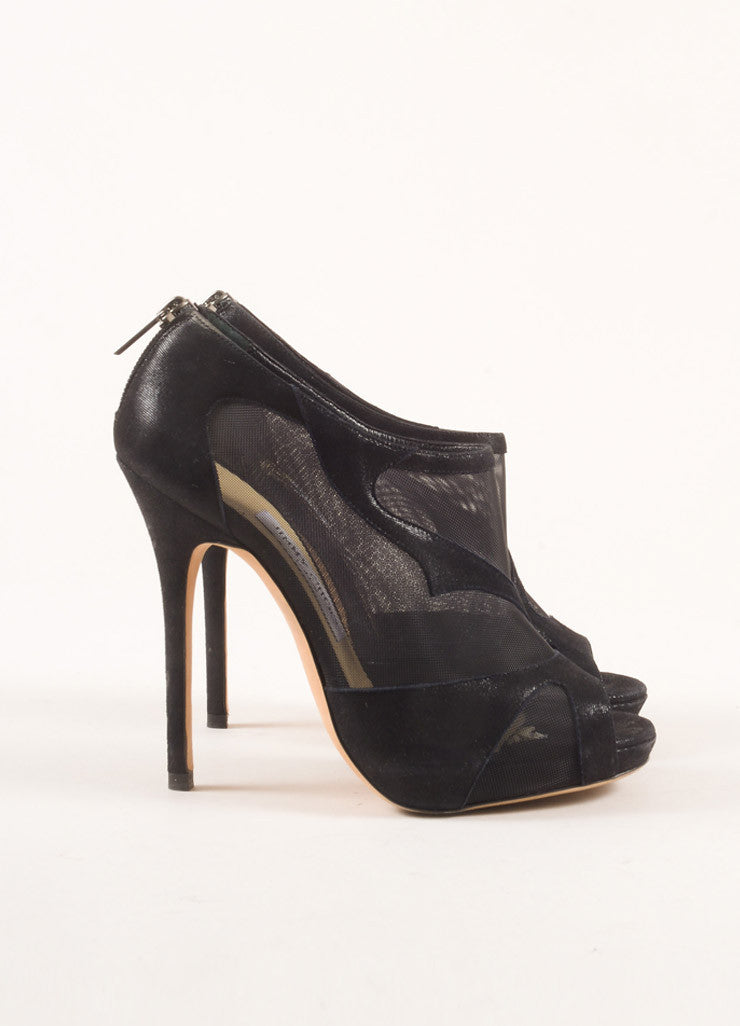 Jimmy Choo Navy Suede and Mesh Sheer Peep Toe Booties Sideview