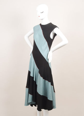 Jonathan Saunders New With Tags Black and Teal Wool Sleeveless A-Line Dress Sideview