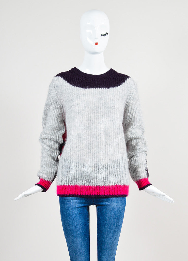 Grey, Purple, and Fuchsia Kenzo Mohair Blend Knit Pullover Sweater Frontview