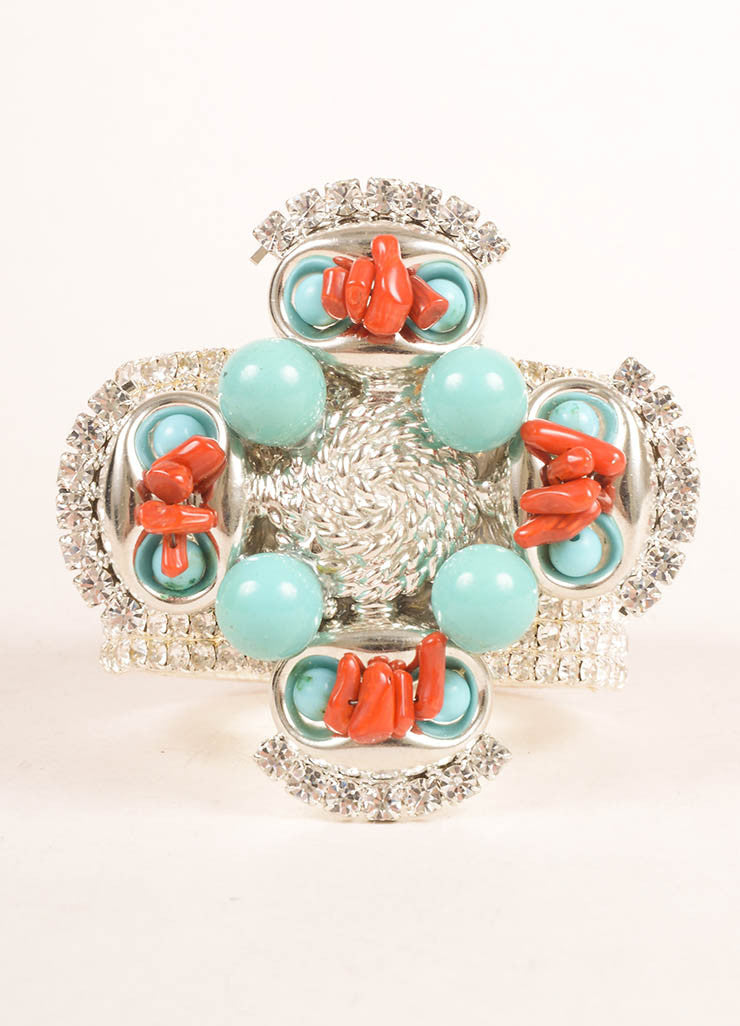 Lawrence Vrba Silver Toned, Turquoise, and Red Rhinestone Beaded Cuff Bracelet Frontview