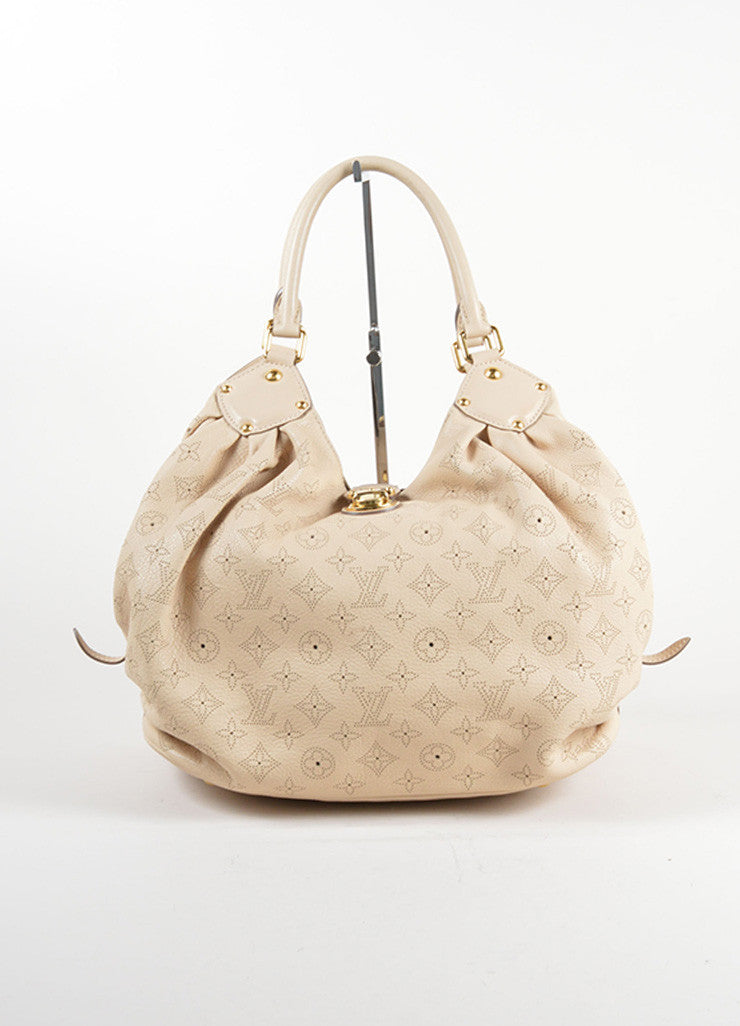 "Louis Vuitton Beige ""Sandy"" Perforated Monogram Leather ""Mahina L"" Shoulder Bag Frontview"
