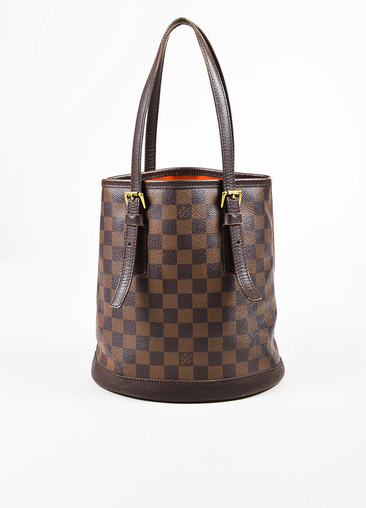 "Louis Vuitton Brown and Gold Toned ""Damier Ebene"" Coated Canvas ""Petit Bucket"" Bag Frontview"