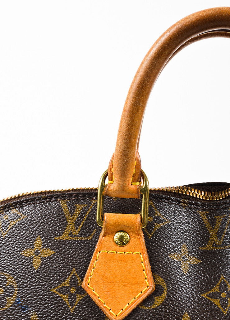 "Louis Vuitton Brown Tan Coated Canvas Leather Monogram ""Alma PM"" Bag Detail 3"